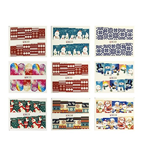 Wrapables 48 Sheets Winter Wonderland Nail Art Decals Water Transfer Nail Decal Sheets