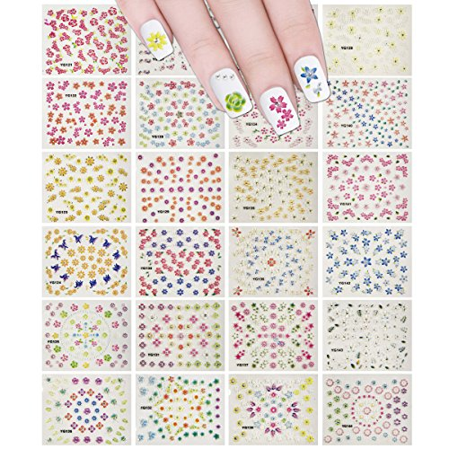 Wrapables 24 Sheets Flowers-A-Plenty Multicolor Flowers Nail Stickers Nail Art Set