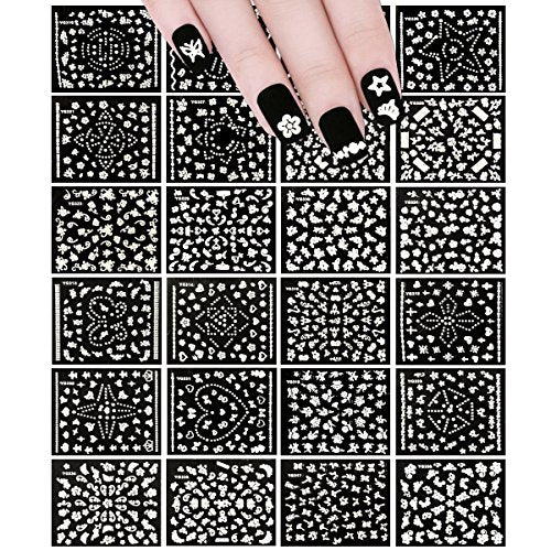 Wrapables 24 Sheets White Flowers, Dots & Crowns Nail Sticker Nail Art Set