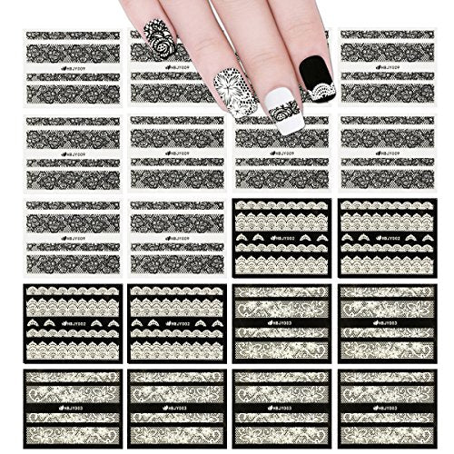 Wrapables Black & White Lace Nail Stickers Fashionable 3D Nail Art (20 sheets)