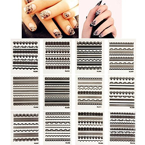 Wrapables Black Lace Nail Stickers Nail Art Lace Nail Decals, Random Mix (set of 30)