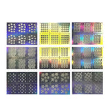 Wrapables 63 Designs Holographic Manicure Nail Art Guide Nail Stencil Nail Sticker Bundle (set of 63)