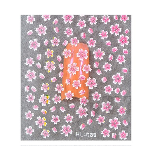 Wrapables 50 Sheets Colorful Flowers, Hearts & Butterflies Nail Sticker Set Nail Art (Random Mix)