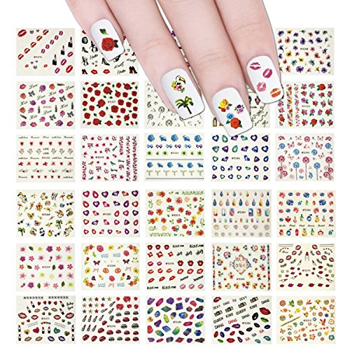 Wrapables Beauty Nail Art Nail Stickers 3d Flower Stickers Set DIY Nail Art, 50 sheets (2500+ Nail Decal Stickers)