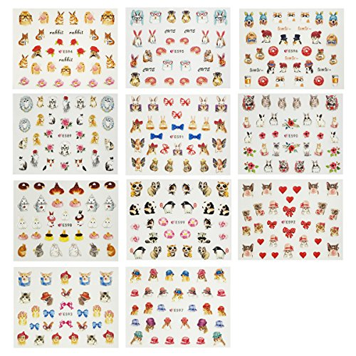 Wrapables Furry Animals Nail Stickers 3D Nail Art (330+ Nail Stickers/11 sheets) - Cats, Rabbits & Pandas Nail Stickers