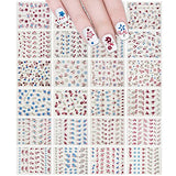 Wrapables Glitter Stars & Flowers Nail Stickers Sparkly Nail Art (24 sheets)