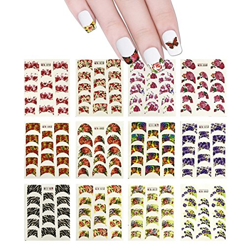 Wrapables 44 Sheets Flowers French Tip Nail Water Slide Nail Art Nail Decals Water Transfer Nail Decals