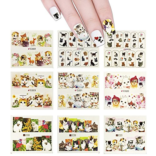 Wrapables 22 Sheets Cat Water Slide Nail Art