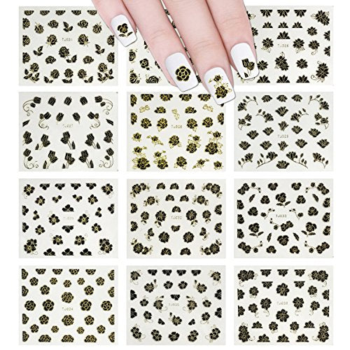 Wrapables 12 Sheets Black Flower with Gold Trim Nail Stickers Nail Art