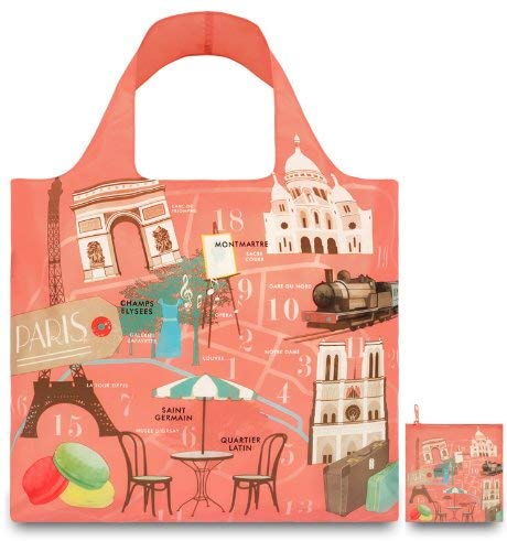 LOQI Urban Reusable Shopping Bags (Set of 3), New York, Italy, Paris