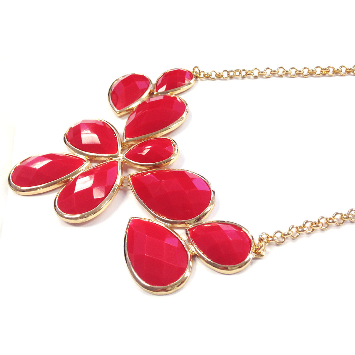 Wrapables Fancy Drop Shape Bubble Bib Statement Necklace