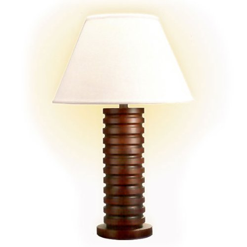 Grooved Wood Cylinder Table Lamp