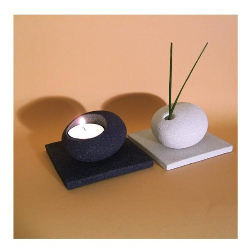 Pebble Vase & Tealight Holder Set