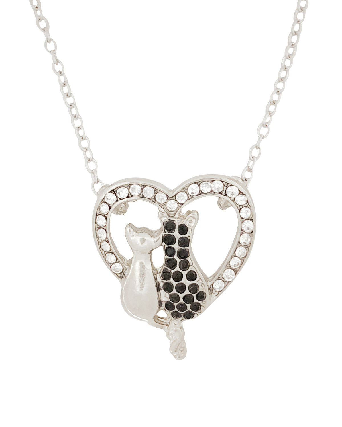 4f0cab4aa4 Wrapables® Black and White Cat Lovers Heart Pendant Necklace