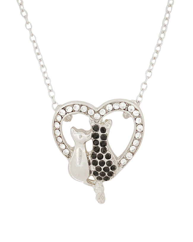 Wrapables® Black and White Cat Lovers Heart Pendant Necklace