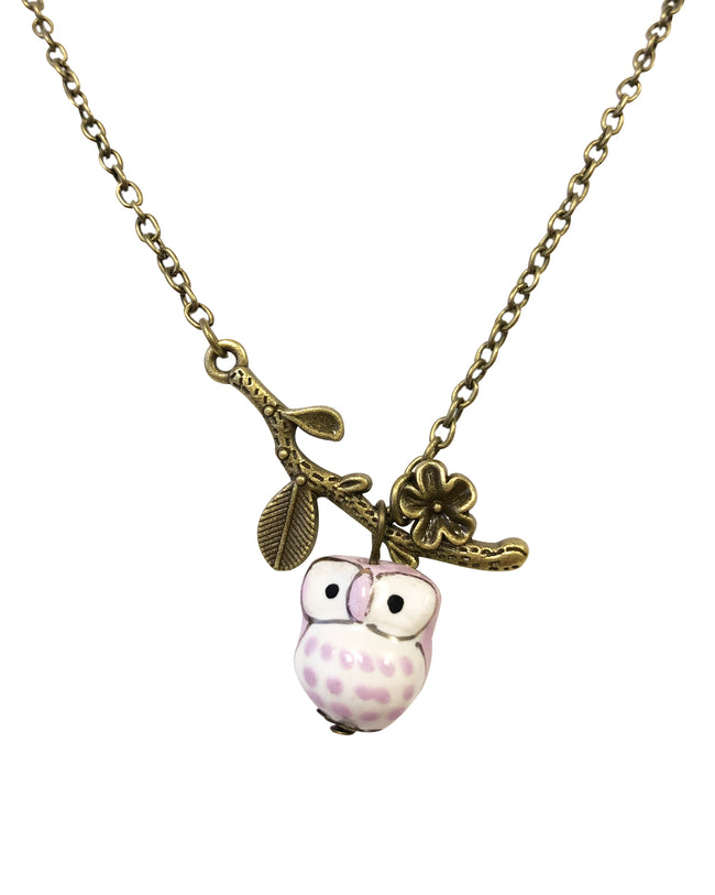 Wrapables® Vintage Ceramic Owl Necklace