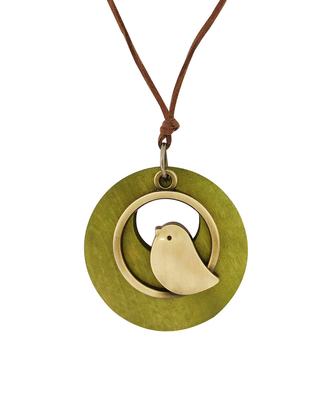 Wrapables® Vintage Wooden Bird Long Sweater Necklace