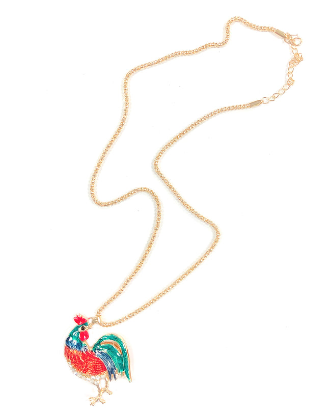 Wrapables® Vibrant Rooster Necklace with Rhinestones