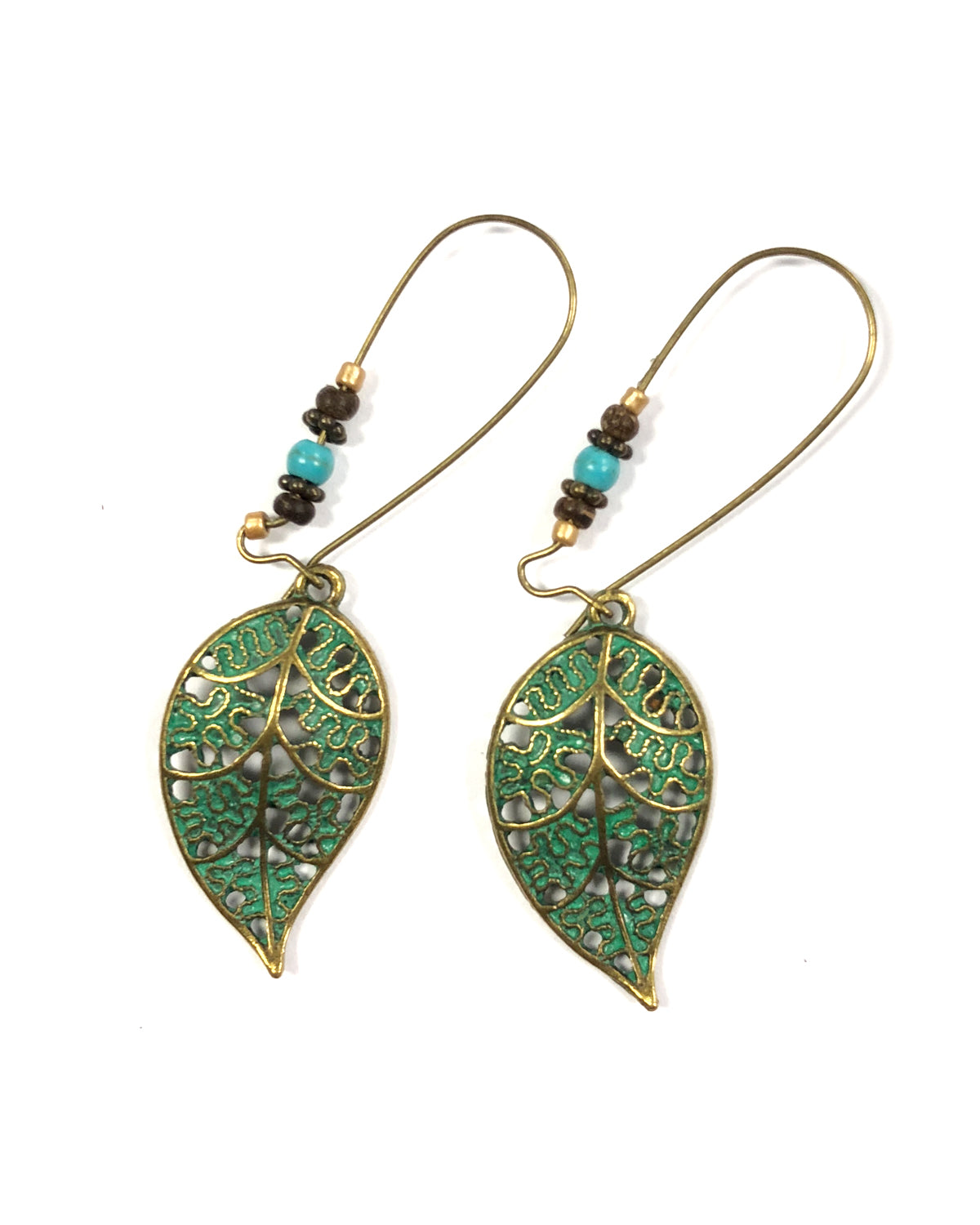 Wrapables® Vintage Green Leaf Dangle Earrings