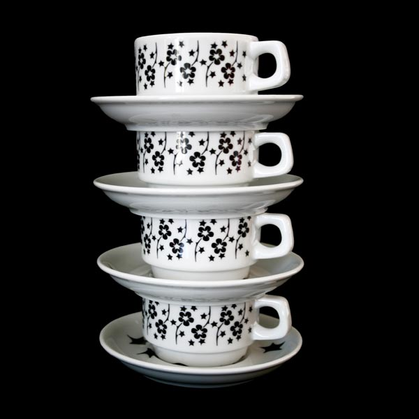 Espresso Set of Four - Black Flora