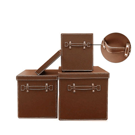 Cairo Faux Leather Storage Boxes (Set of 3)