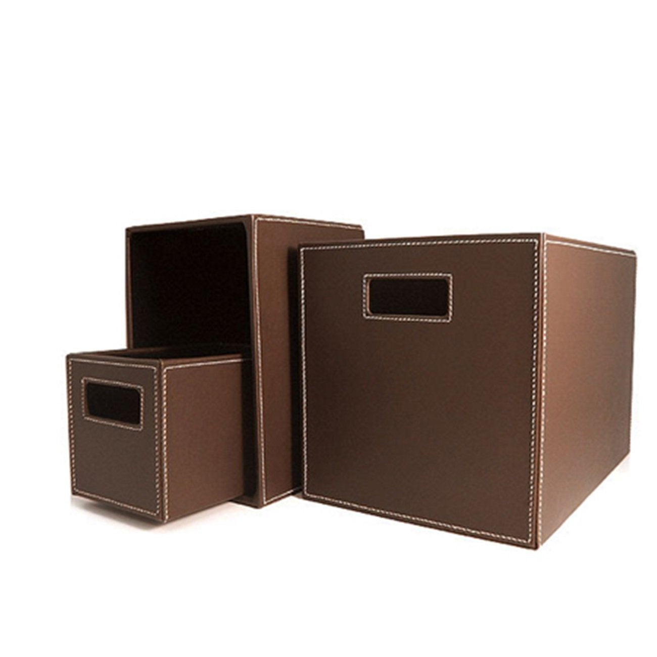 London Leather Storage Totes (Set of 3)