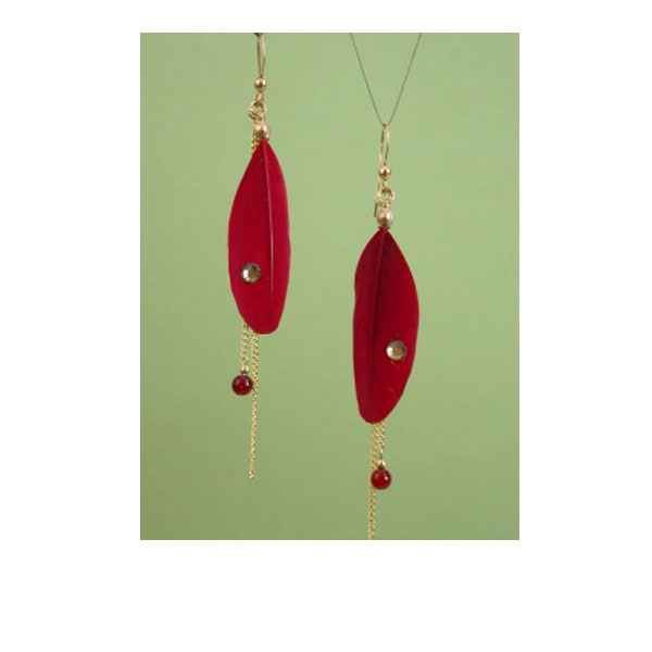 Ruby Duck Feather Earrings