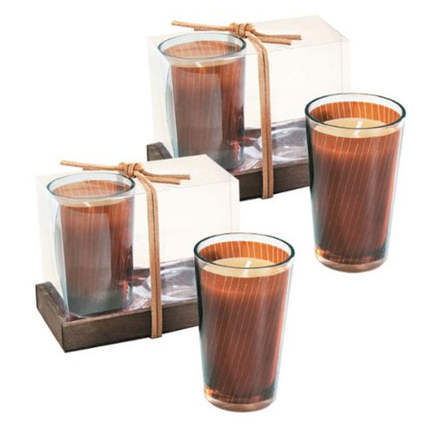 Embossed Filled Votives (set of 4) - Brown