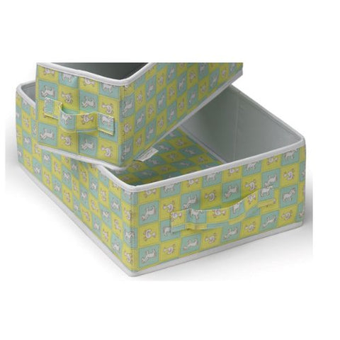 Crunch Canvas Container - Blue/Mocha (set of 2)