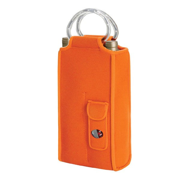 Brunello Two Bottle Wine Tote with Corkscrew -Orange