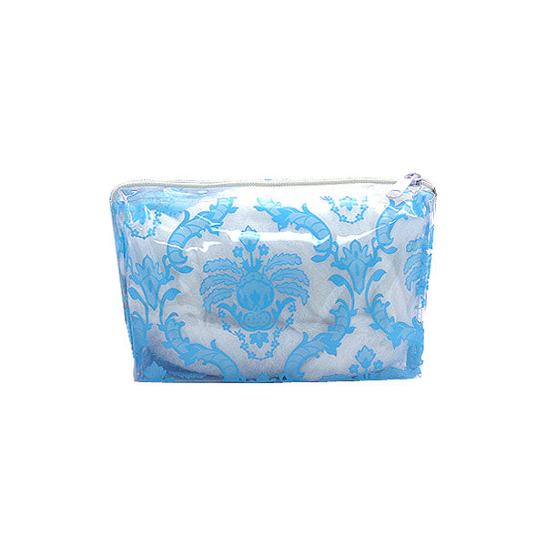 Damask Vinyl Cosmetic Bag - Blue Small