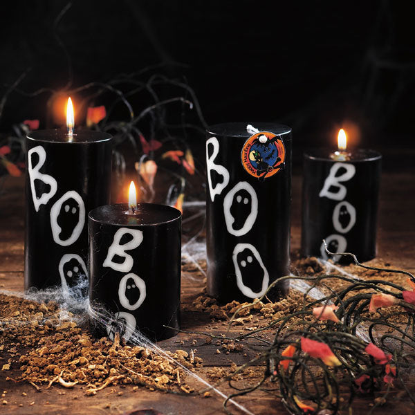 "Halloween ??Boo!?? Inlaid Pillar Candle - 3"" 4""gg"