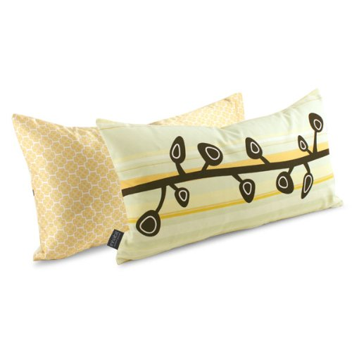 Custard Sprout Stripe Throw Pillow