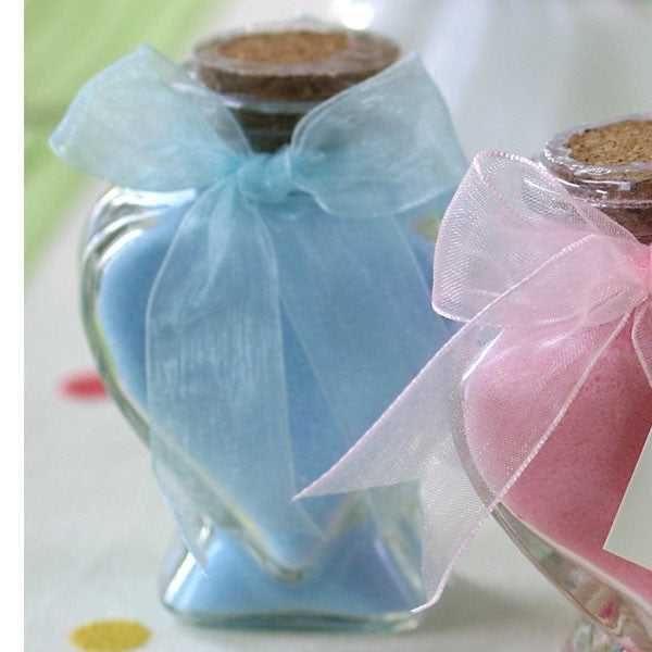 Scented Bath Salts In Heart Glass Bottle - Blue