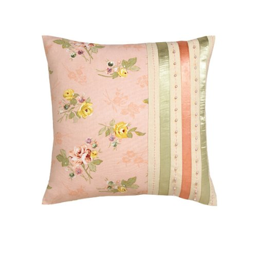 Vintage Blossoms & Ribbon Trim Cushion Cover