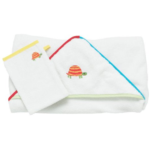 Embroidered Turtle Hooded Towel & Wash Mitt Set