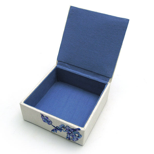 Embroidered Blue Blossoms Jewelry Box