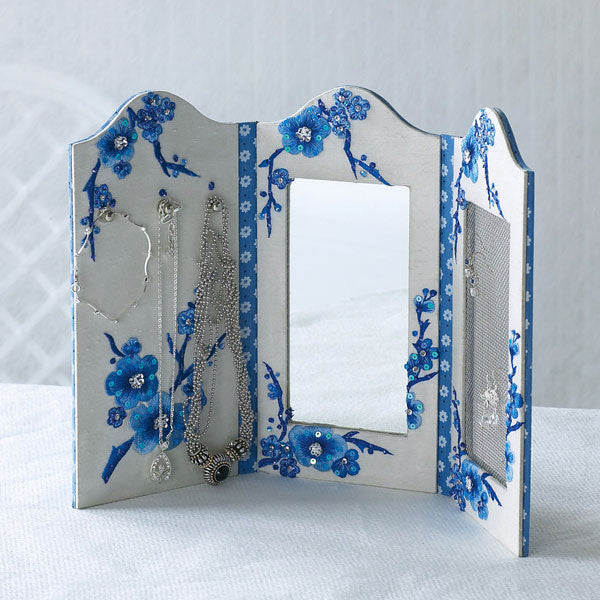 Embroidered Blue Blossoms Tri-Fold Vanity Mirror & Organizer