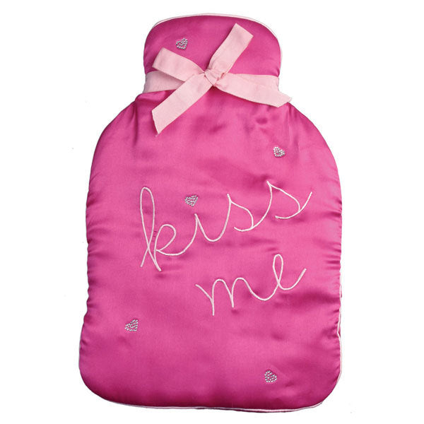 Kiss Me Diamante Hearts Satin Hot Water Bottle Cover