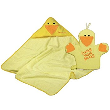 Yellow Ducky Hooded Towel & Bath Mitt Set