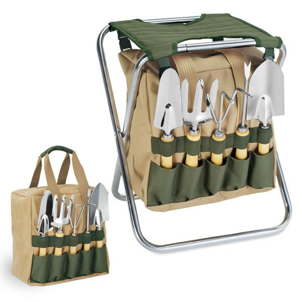 5pc. Gardening Tools with Folding Chair