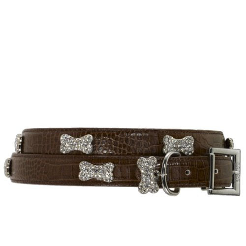 Rhinestone Bones Dog Collar