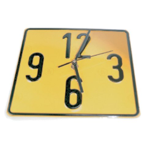 Yellow Time Square Wall Clock