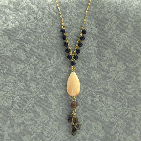 Winona Peach Quartz Drop Pendant Necklace
