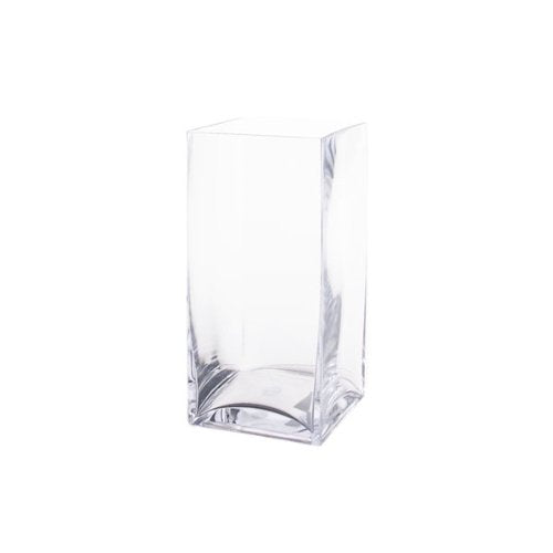 "Block Glass Vase - 12"" H"