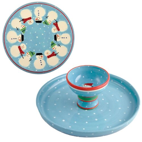 Reversible Cake Plate / Chip & Dip - Snowman