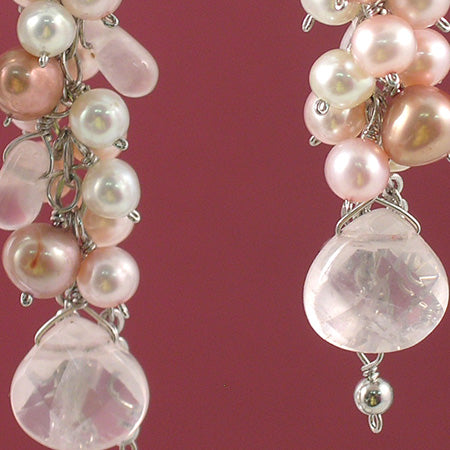Sweet Pink Cluster Drop Earrings