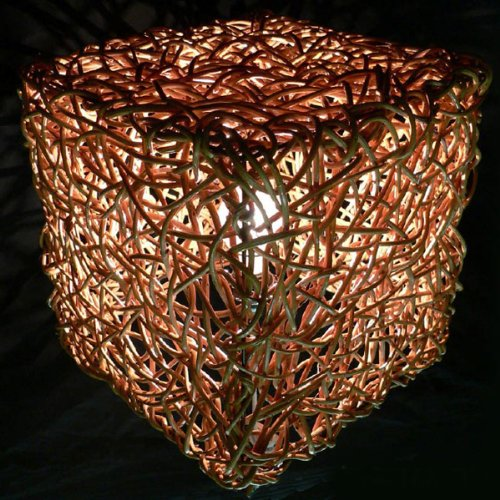 Woven Twig Square Table Lamp