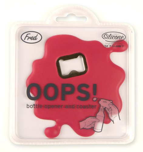 OOPS! Bottle Opener & Coaster - Red