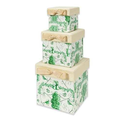 Nested Stacking Boxes (set of 3) - Green Toile